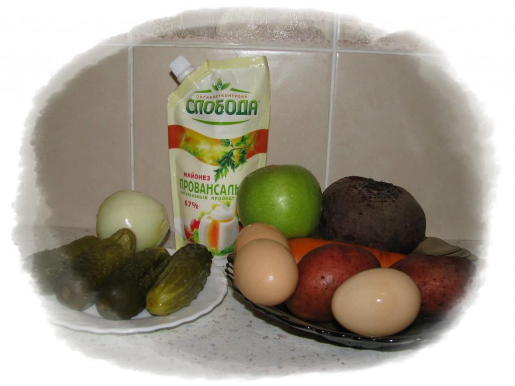 ингредиенты для салата со свёклой и морковью