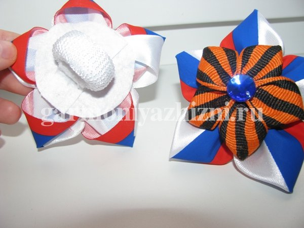 патриотические бантики для волос из лент к 9 мая