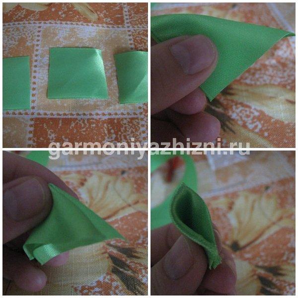 формируем острые зелёный листок канзаши