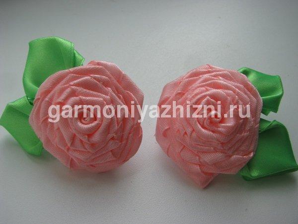 крученая роза канзаши