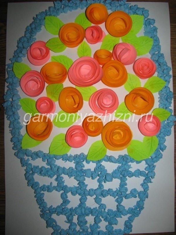 подарок на день матери своими руками бумажные розы в корзине