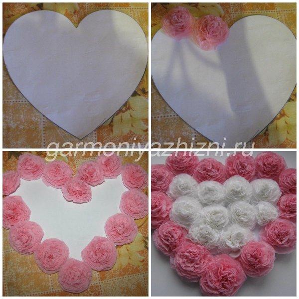 наклеиваем розы на сердечко