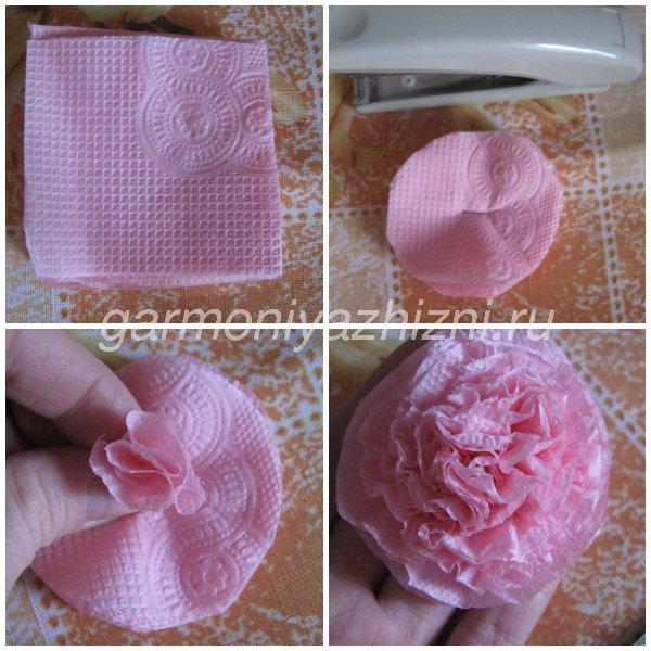 роза из бумажных салфеток пошагово