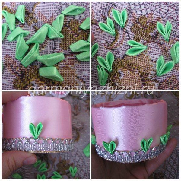 обклеиваем шкатулку зелеными острыми листиками