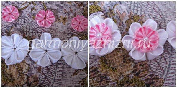склеиваем белые и розовые цветы вместе