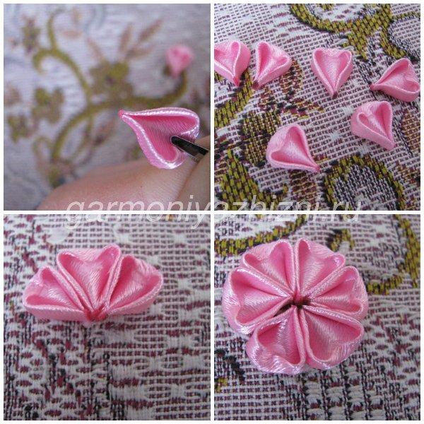 склеиваем розовые лепестки