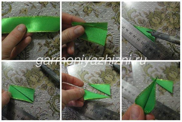 как сделать зелёный листик канзаши для тюльпана