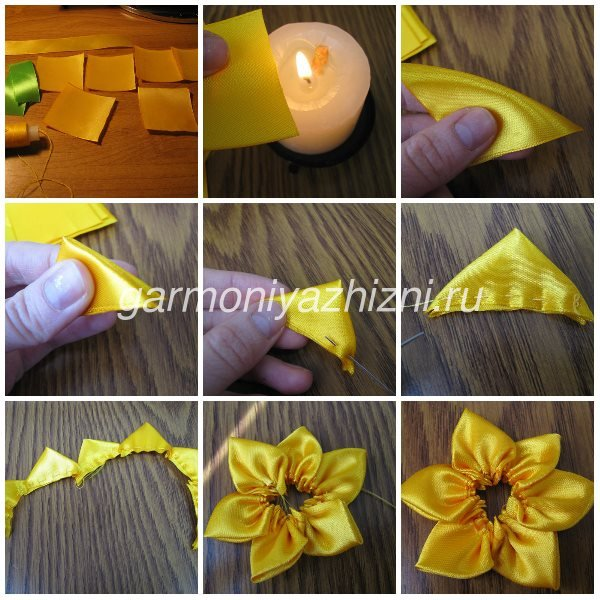 жёлтый нарцисс из лент