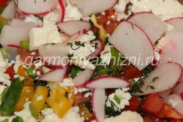 салат из редиса с творогом