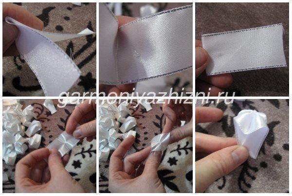 складываем деталь для белого банта канзаши