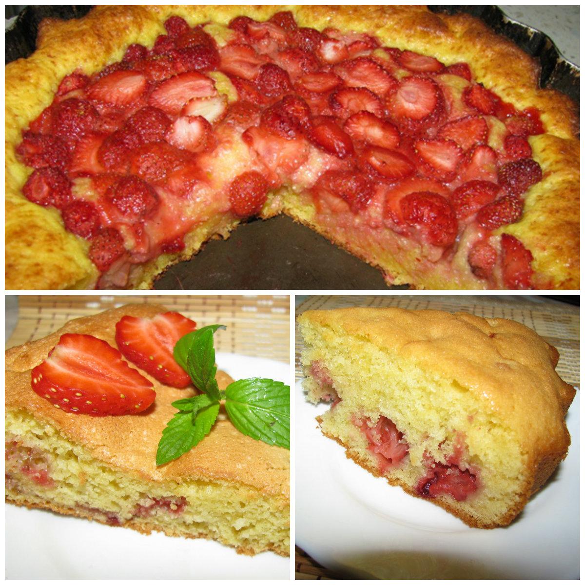 Пирог с клубникой рецепт пошагово в духовке простой