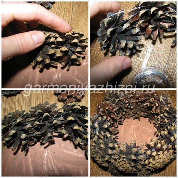 плетём корзину из шишек