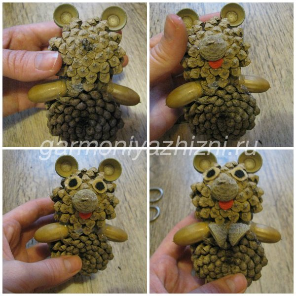 Мишки из шишек своими руками 1