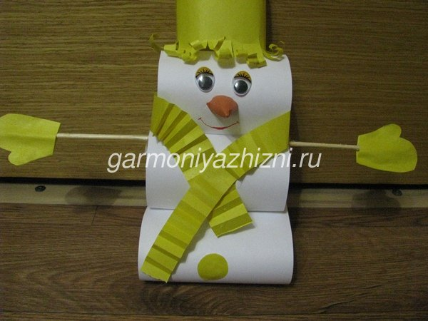 снеговик из бумаги мастер класс