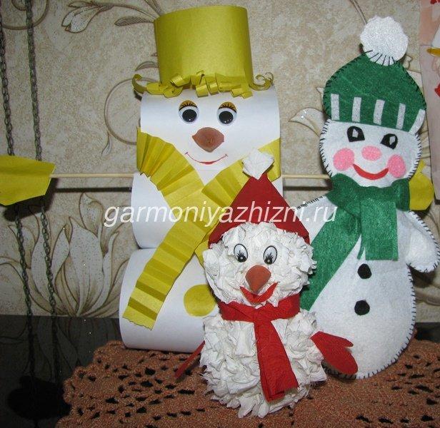 снеговики из бумаги