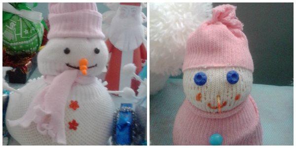 снеговики из носков на выставке