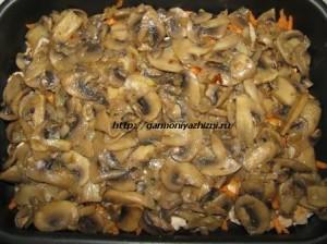 грибы обжарить выложить