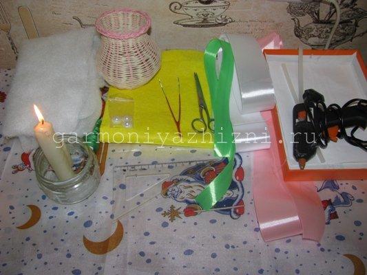 материалы и интсрументы для ромашек из лент