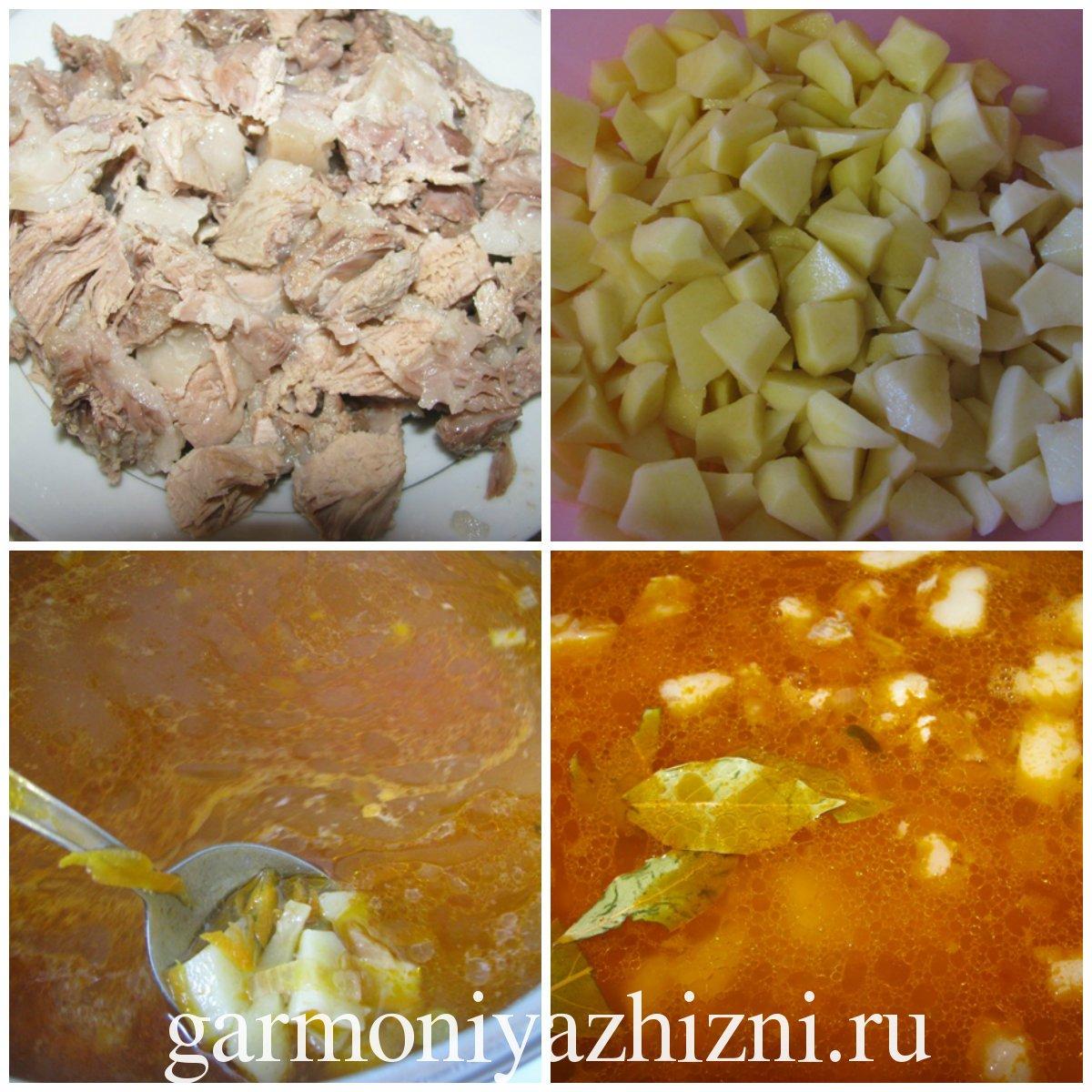 добавляем мясо, специи и соль