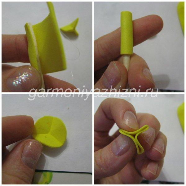 как сделать пестик и тычинки для тюльпана