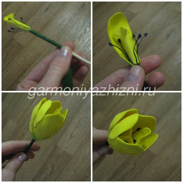 распустившийся тюльпан из фоамирана