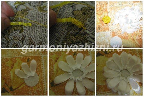 формируем серединку из желтой ленты для ромашки