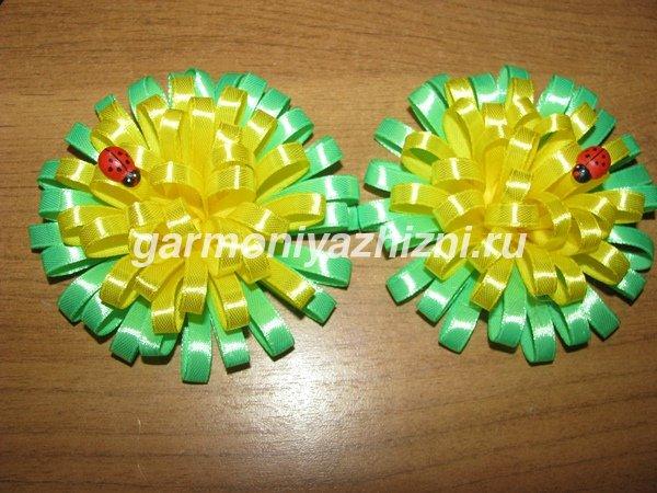 одуванчки канзаши из узкой атласной ленты 0,6 см