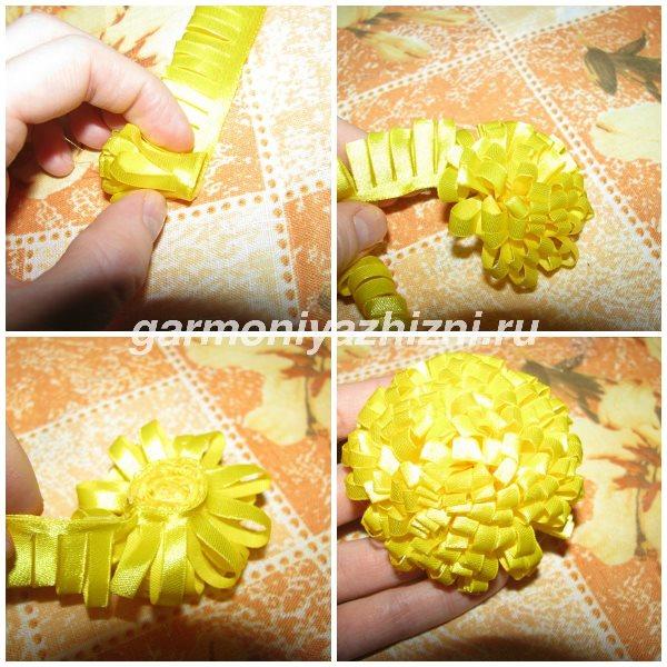 скручиваем готовую ленту в цветок