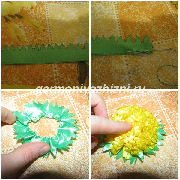 вырезаем чашелистик для цветка из ленты 2,5 см