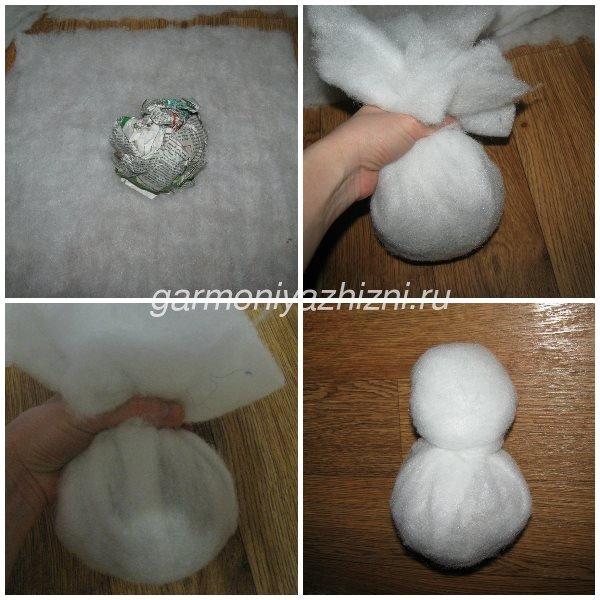 делаем снеговика из синтепона