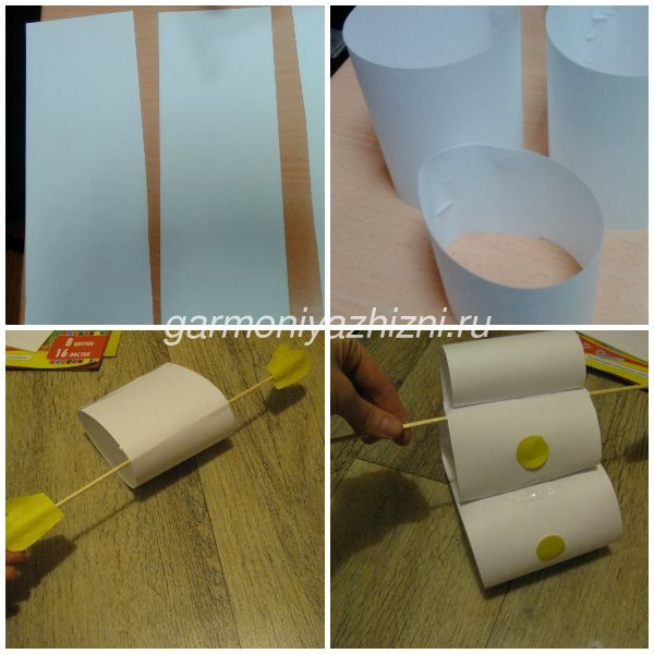 склеиваем снеговика из бумаги