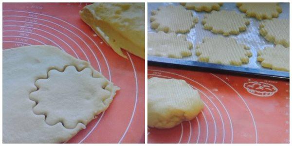 раскатываем тесто и вырезаем коржики