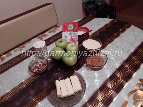 ингредиенты для насыпного пирога с яблоками